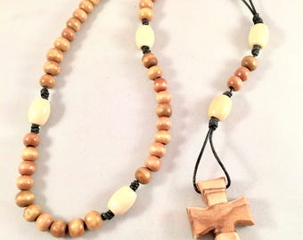 Catholic Rosary - wood beads with Olive Wood Carved Cross