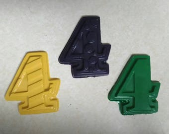 Recycled Crayons. Number Crayons. Numbers. Kids Crayons. Counting. Learning. Party Favors. Crayons. Rainbow Crayons. Number 4 Crayon.