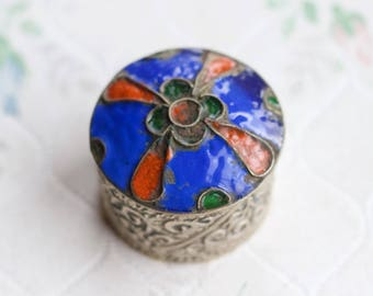 Snuff Box or Ring Box - Blue Enamel Inlay - Cloisonne