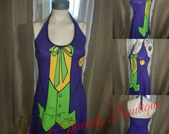 RECYCLED UPCYCLED Halter top dress Made from used licensed Joker shirt size Small