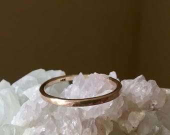 solid gold band, hammered, smooth, round 14k rose yellow white band, 14 gauge, medium width band for her, stack, recycled metal
