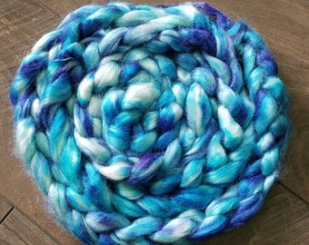 "2oz 100 % tussah silk roving hand dyed for spinning yarn fiber arts supplies ""I killed a smurf and I liked it"" lighter blue purple white"