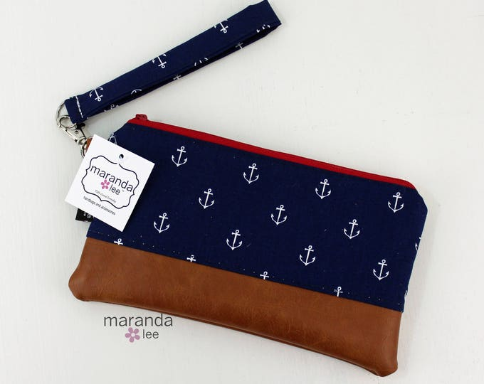 Flat Clutch - Navy Anchor READY to SHIp