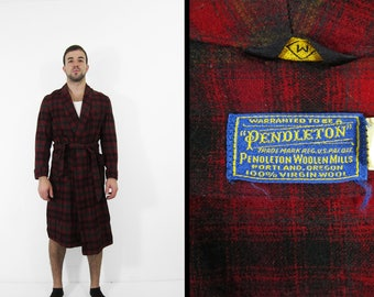 Vintage 50s Pendleton Wool Robe Red Plaid Tie Bath Robe - Medium