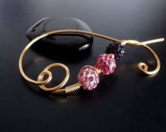 Pink Purple Shawl Pin, Scarf Pin, Brooch crystal pin, Gold pin, knitting accessories Wire brooch, Artisan Jewelry