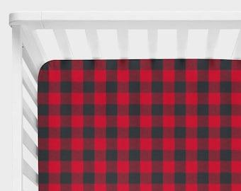 Buffalo Plaid Baby Bedding, Lumberjack Nursery Bedding, Fitted Crib Sheet, Rustic Crib Bedding, Buffalo Check Gingham Woodland Black Red