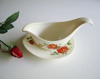 Vintage, Midwinter Modern, Gravy Boat, Staffordshire England, Roses, Under Plate, Mid Century Modern, MCM, Rose Pattern, Fashion Shape