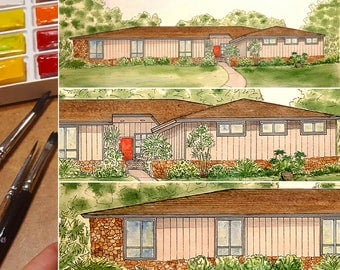 Turn photo into painting, Home Painted in Watercolor, Original painting from photo, Home architectural sketch in color, Color home portrait