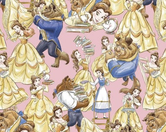 Beauty and the Beast - Belle and Beast Packed Pink from Springs Creative