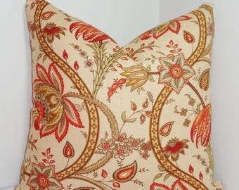 FALL is COMING SALE Tan Red Blue Floral Pillow Cover Decorative Pillow Flower Throw Pillow Cover 18x18