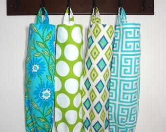 Plastic Bag Holder Grocery Bag Storage Kitchen Bag Storage Floral Lime Green Dots Diamond Blue
