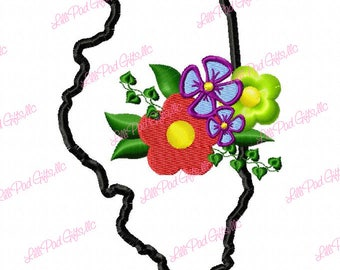 Illinois-Flowers - Applique - Machine Embroidery Design - 6 Sizes