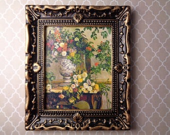 Dollhouse Picture Large Ornate Frame Floral Print Miniature Painting MiniaturePicture