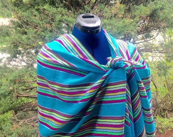 Blue Rebozo Mexican Wrap, Aztec Scarf, Blue Tribal Shawl, Doula and Midwife Tools 3 yard Long Accessories