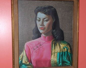 Miss Wong by Vladimir Tretchikoff Oriental Asian Print Mid Century Modern Art Framed with Glass 1950's Kitsch