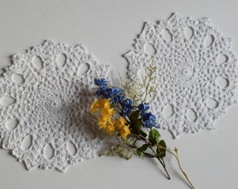 "Crochet Doily Pair - White - Lacy Small - 9"" - Set of 2"