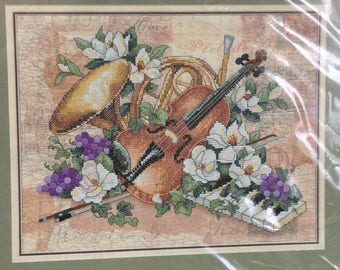 """STAMPED CROSS STITCH Kit """"Floral Harmony"""" #3210 Dimensions 14"""" x 11"""" - Musical Instruments, Flowers"""