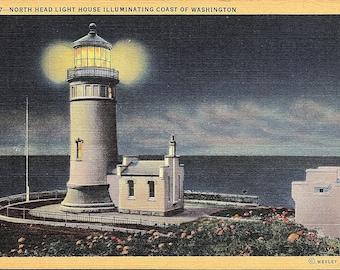 North Head Light House, Washington - Vintage Postcard - Postcard - Unused (LL)
