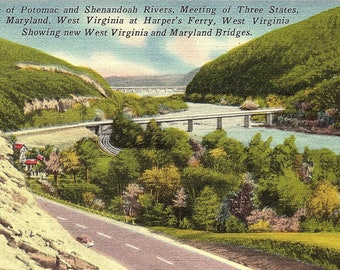Potomac River, Shenandoah River, Three States Meeting, Virginia, Maryland, West Virginia, Harpers Ferry - Vintage Postcard - Postcard (G1)