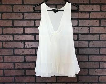 Vintage 90s white sheer flowy sleeve blouse shirt