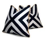 """18"""" B&W X Pattern Pillow with Gold Velour Backing"""