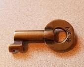 Vintage Obsolete N & W Norfolk Western Railroad Hollow Barrel Brass Key Adlake