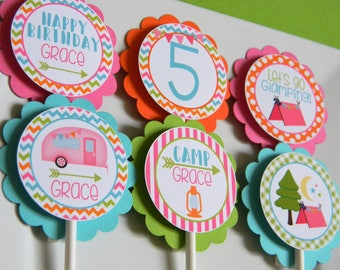 Glamping Cupcake Toppers, Glamping Party Decor, Camping Cupcake Toppers, Glamping Birthday, Happy Camper Party, Girl Camping Party,Set of 12