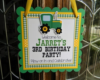 Tractor Party Door Sign, Tractor Welcome Sign, Tractor Birthday Party, Tractor Birthday Door Hanger, Tractor Party Decorations