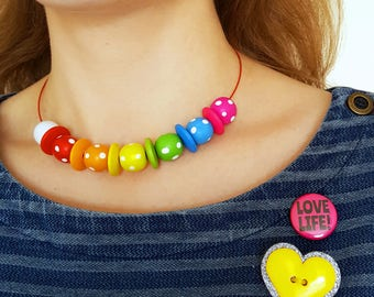 Rainbow Necklace - Rainbow Bead Choker Necklace - Spotty Wooden Beads - Colourful Jewellery - Wire Choker Necklace