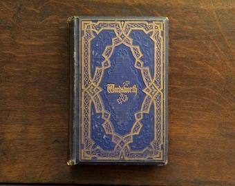 Antique poetry book, William Wordsworth poetical works, vintage 1860s book of verse, British edition.