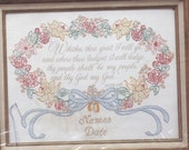Whither Thou Goest - Wedding Sampler Ruth 1:16 - STAMPED DESIGN Embroidery Fabric - NO Floss