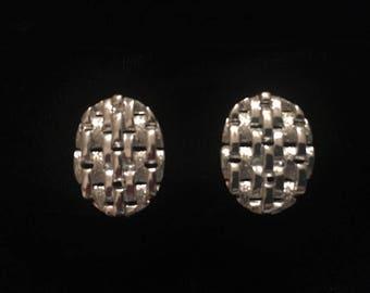 Vintage Basket Weave Textured Coro Screw-back Earrings