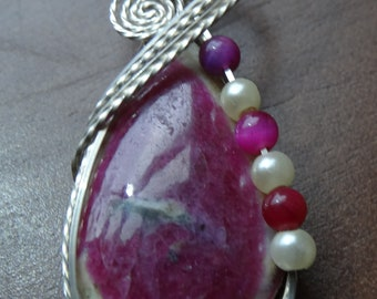 Ruby Wire Wrapped Pendant in Argentium Sterling Silver