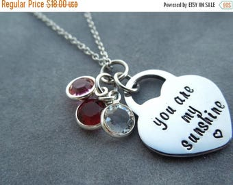 You are my sunshine, personalized birthstone necklace, hand stamped, gift