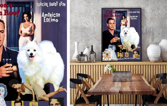 American Eskimo Dog Vintage Poster Canvas Print - Cat on a Hot Tin Roof Movie Poster NEW Collection by Nobility Dogs