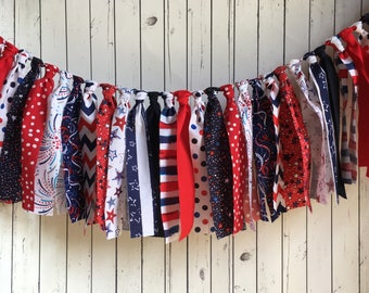 WEEKEND SALE Ends Sunday Red White and Blue, Stars and Stripes Rag Tie Banner, Ready To Ship, Fourth of July Garland, Rag Banner Photo Prop