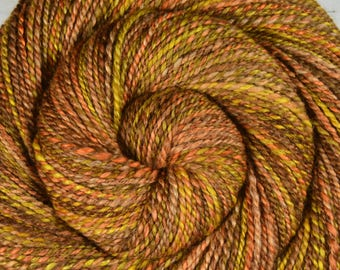 Handspun Yarn, Worsted Weight - HARVEST MOON - Merino/Camel/Alpaca/Mulberry Silk, 195 yds, weaving yarn, gift for knitter