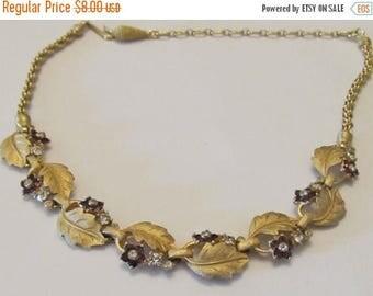 Vintage Brushed Gold Leaf Necklace Purple and White Rhinestones