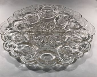 L. E. Smith Moon and Stars Egg Plate Clear