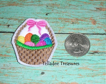 Easter Egg Basket with Bow white feltie - Great for Hair Bows, Reels, Clips and Crafts - Felt