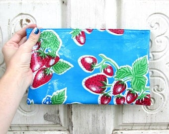 """Blue Strawberry Oilcloth Bag, clutch purse or makeup bag, regular size 10.5"""" by 6.25"""""""