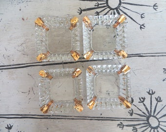 Vintage Glass Ashtray Set of 4 with Gold Accents Small Hostess Ashtrays