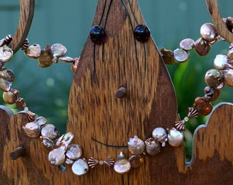 Funky Copper Freshwater Pearls with Copper and Citrine