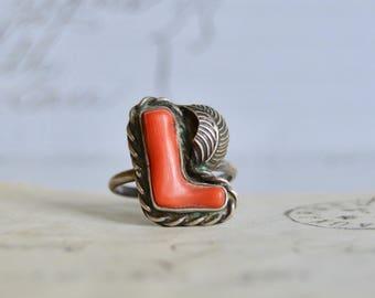 Vintage Coral Navajo Ring - Size 7 1/2