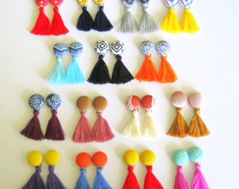 Tassel earrings, Tassel Studs, Tassel Boho style,Tassels, Tassel Jewelry, Colorful Tassel Jewelry,Tassel Fabric Jewelry,Textile Earrings