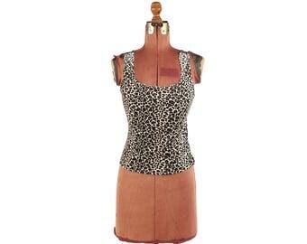 Vintage 1990's Velvet Velour Leopard Animal Print Cyber High Waist Grunge Tank Top M