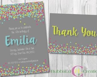Sprinkle Birthday Invitation and Thank You. Personalized polka dot Invite. Sprinkle Party. Polka dot Birthday. Custom Birthday Invitation.