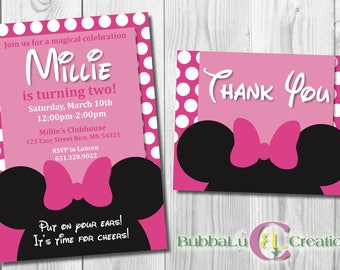 Minnie Mouse Birthday Invitation and Thank You. Personalized Minnie Mouse Invite. Minnie Mouse Party. Custom Birthday Invite. Minnie Mouse.
