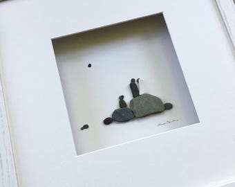 Wedding Couple with dog Pebble Art by Sharon Nowlan, romantic pebble art comes matted or framed in 12 by 12 frame