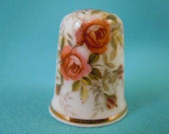 Thimble Bone China with Pink Rose Flowers